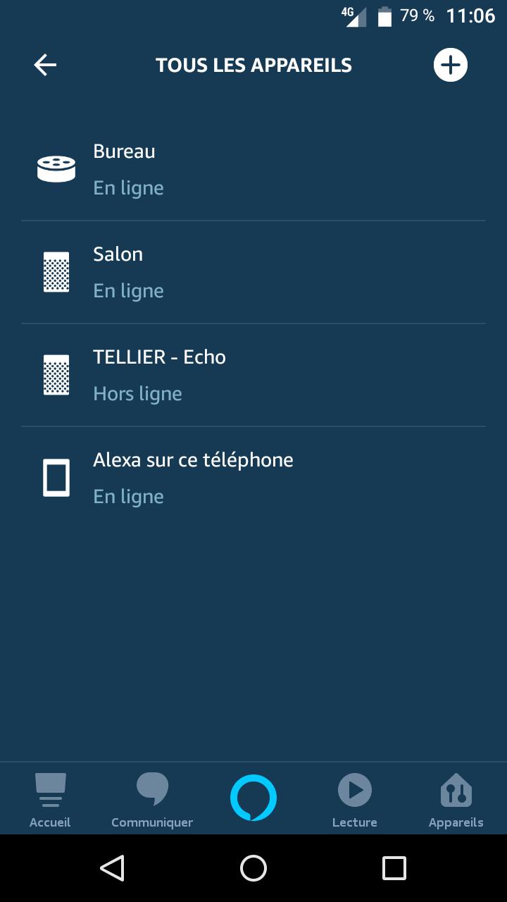 Choix de l'appareil pour utiliser Alexa comme enceinte bluetooth