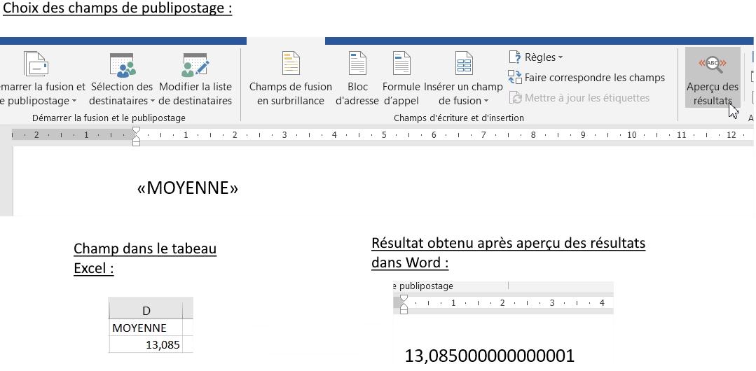 Problème de formats des nombres lors du publipostage