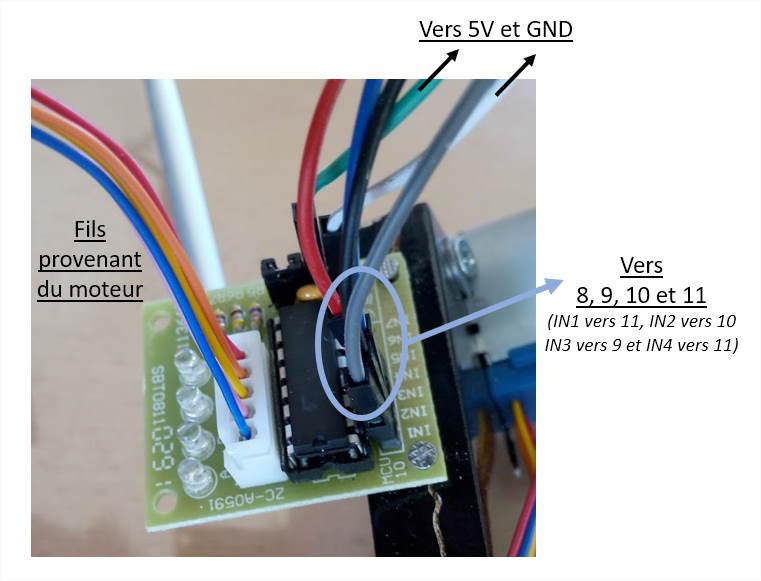 Photographie branchements bras robotisé Arduino