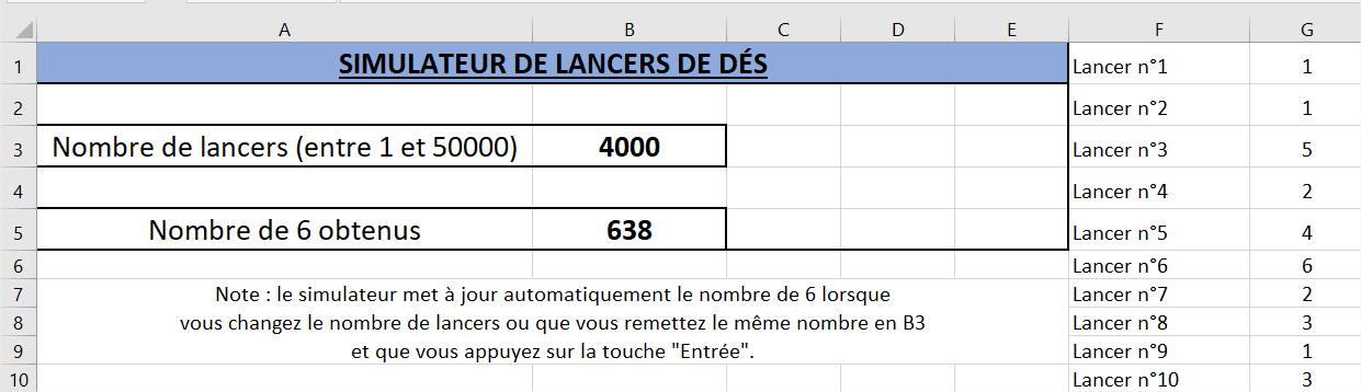 Simulateur de lancers de dés Excel sans macros